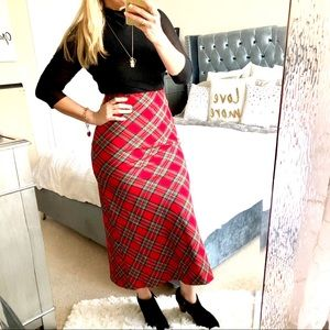 Ralph Lauren Vintage Red Plaid Midi Skirt Sz 2